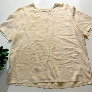 Allison Taylor cream short sleeve blouse xl